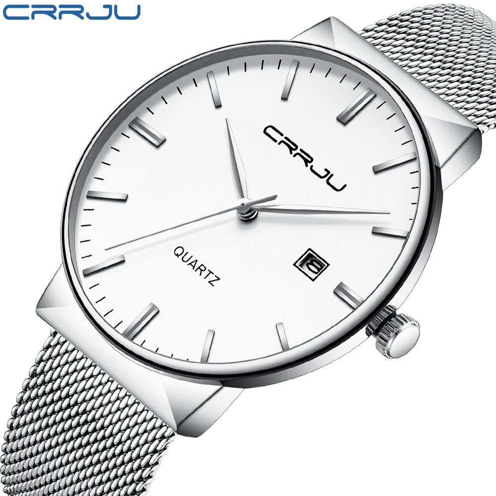 CRRJU Men Watches Top Brand Luxury Waterproof Ultra Thin Date Clock Male Steel Strap Casual Quartz Watch Men Wrist Sport Watch wwoor men watches waterproof ultra thin quartz clock male gold mesh stainless steel watch men top brand luxury sport wrist watch