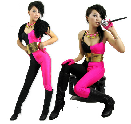 2016 New fashion Hip Hop Dance Costume ds performance wear European loose neon jazz jumpsuit one piece Pants