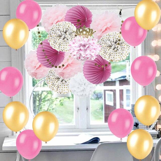 25pc Pink Gold Party Decoration Kit Latex Balloon Poms Accordion Paper Lanterns Little Princess Baby Shower Birthday Hen