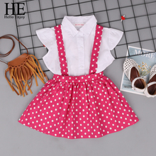 HE Hello Enjoy Girls Clothes Childrens Clothing Sets Cartoon Solid shirt+Suspender Skirt Outfits Kids For Summer