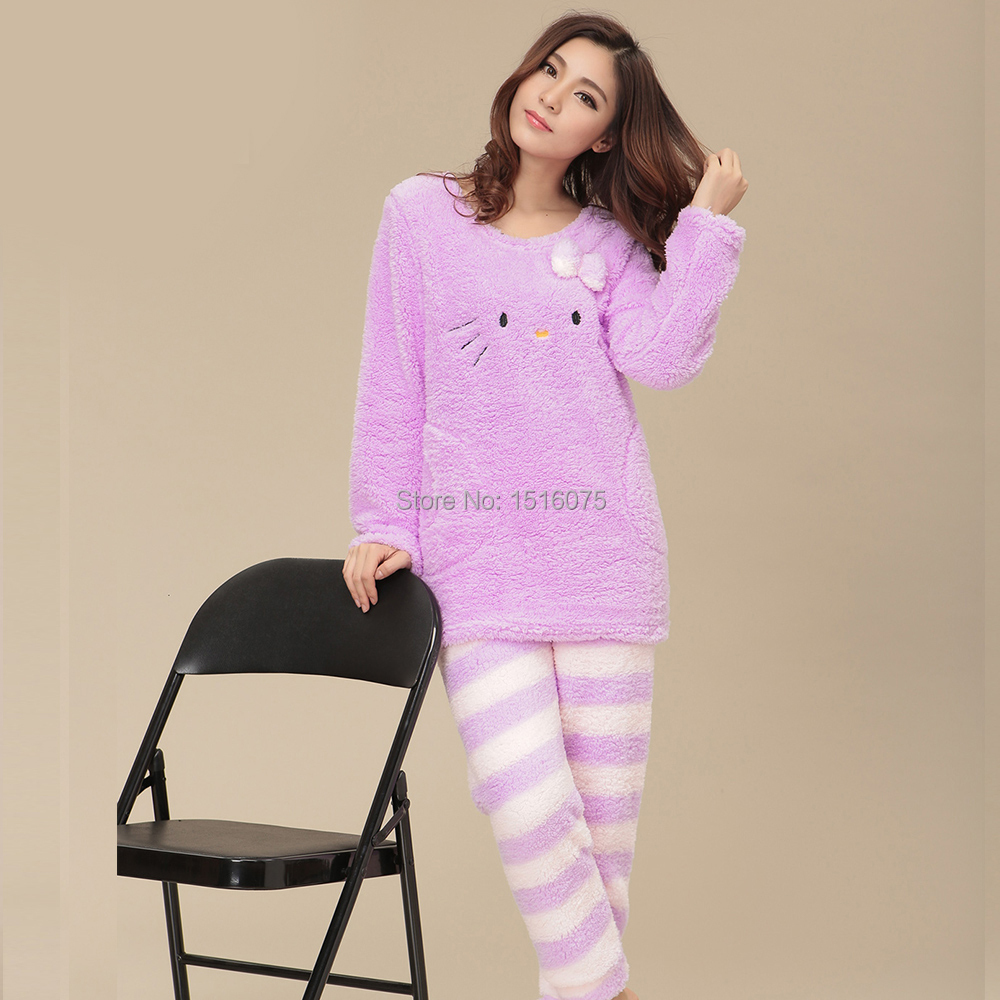 295b3ef46 hello Kitty Winter Pajamas Women Nightgown Sleepwear Cotton Long Sleeve  Home Clothing Tracksuit Nightwear Free Shipping-in Pajama Sets from  Underwear ...