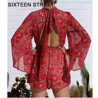 Shorts Jumpsuit spaghetti backless Woman New Fashion stand Neck Sexy Female Playsuit Boho red Floral Playsuit vestidos bodycon