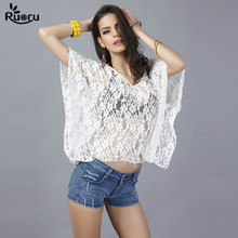 Ruoru Batwing Sleeve White Lace Tops Loose Beach Summer Top Holiday Female Clothing Chemise Femme Sexy Ladies New 2018