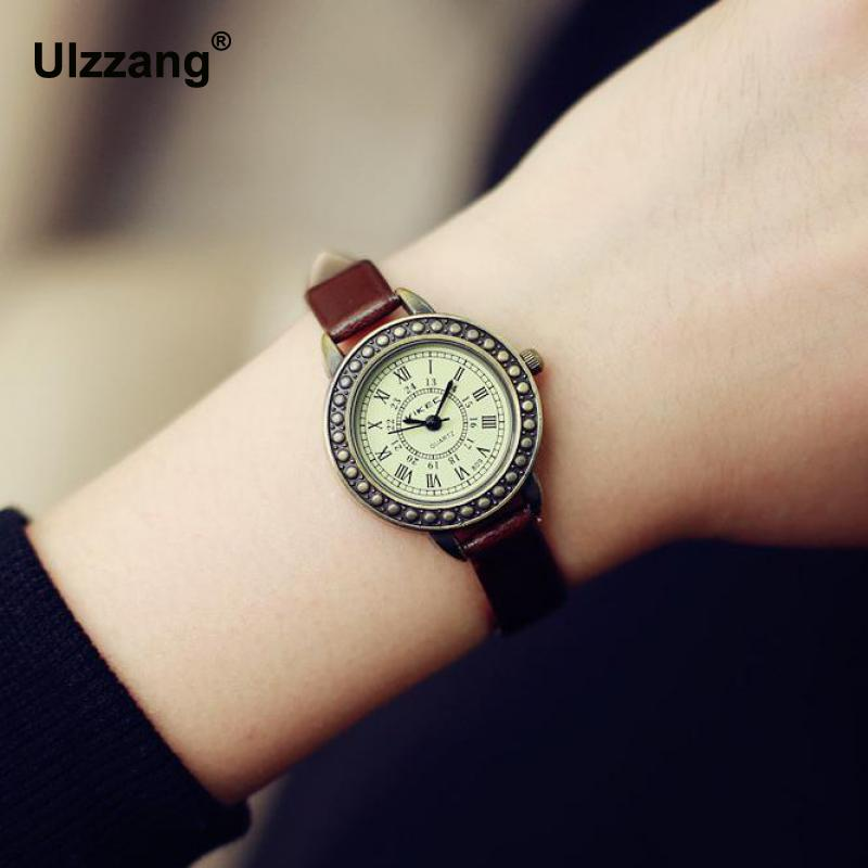 2018 Fashion Classic Vintage Magic Rome Dial Brass Alloy Thin Leather Strap Quartz Wristwatch Watch For Women Ladies Girls