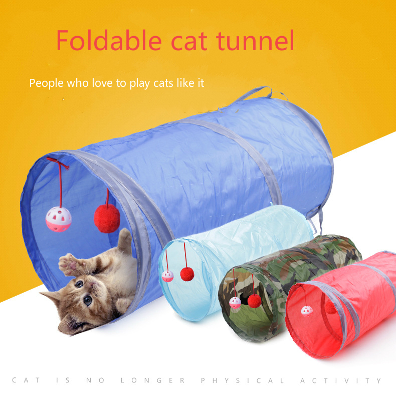 2019 new 8-color pet products cat ring paper two-channel tunnel can receive folded channel wisdom benefit toys drill bucket