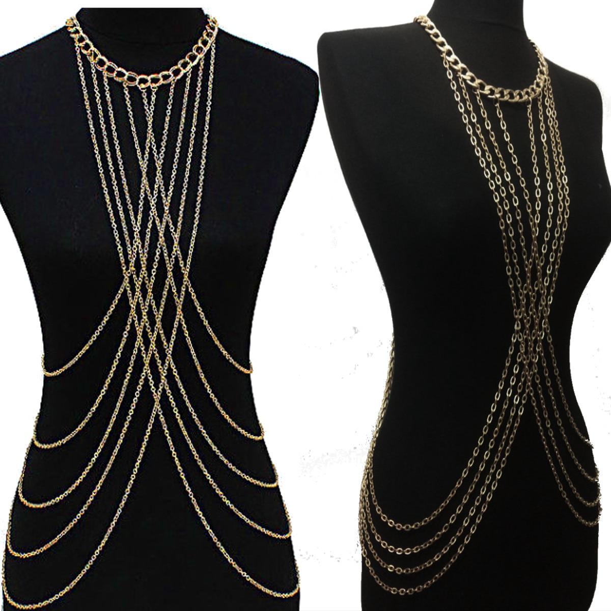 Sexy Beach Crossover Tassel Body Waist Chain For Women Metal Fringe Cross-tie Shoulder Bikini Harness Belt Chain Waistband NEW chain