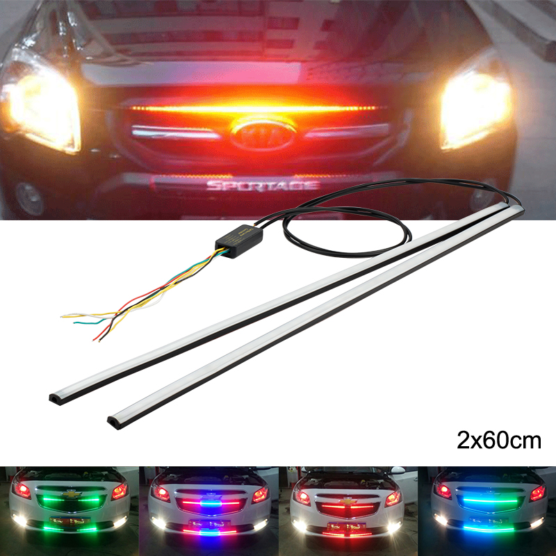 OKEEN 2X 12V Car modification led Strobe Warning Police light Car Truck Flashing Firemen led Flexible Front Grille light strip  luces led de policía