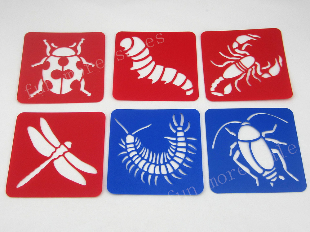 12Designsset-Stencils-for-painting-Big-bug-Kids-drawing-templates-Plastic-boards-baby-hot-toys-for-children-Washable-128x128mm-2