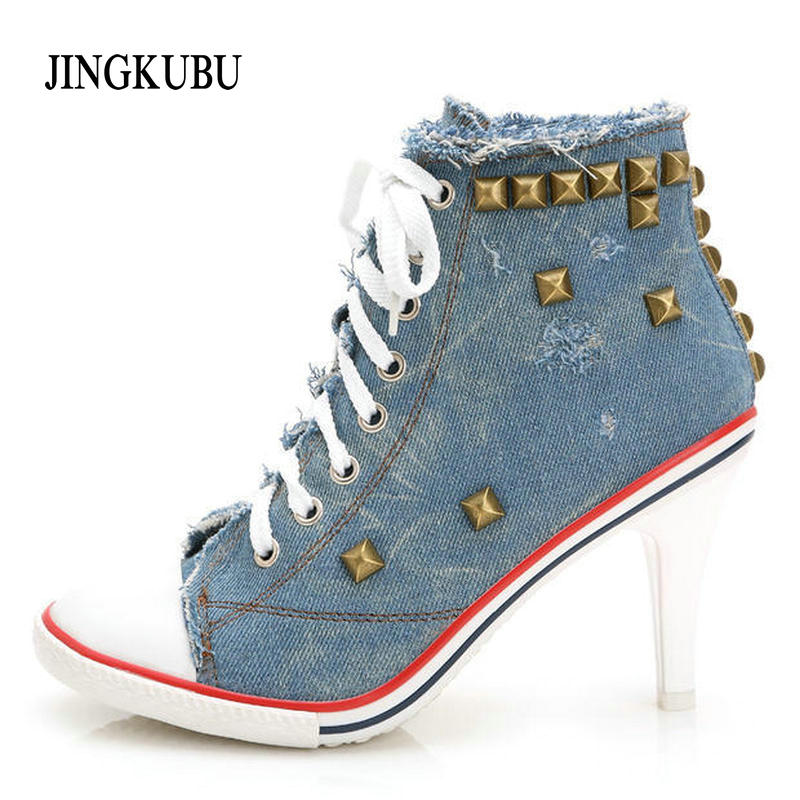 2016 New Arrival Autumn denim Ankle Boots High Heel casual shoes rivets sexy jeans Shoes Women Denim Canvas Free Shipping S507 new arrival x39v 2 4g 4ch remote control toys 6 axis gyro rc quadcopter vs wltoys v262 drone 2 0 u818a