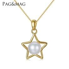 PAG y MAG Marca de Cinco puntas Estrella de la Joyería de Plata de ley 925 Natural Perla Colgante Collar de Cadena Para Las Mujeres Navidad regalos