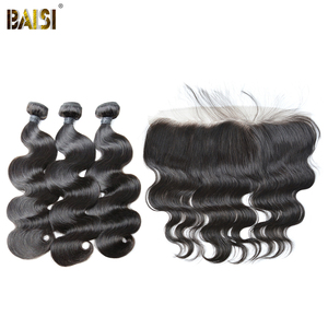 Image 1 - BAISI Hair Brazilian 8A Body Wave Virgin Hair Weave 3 Bundles with Lace Frontal 100% Human Hair