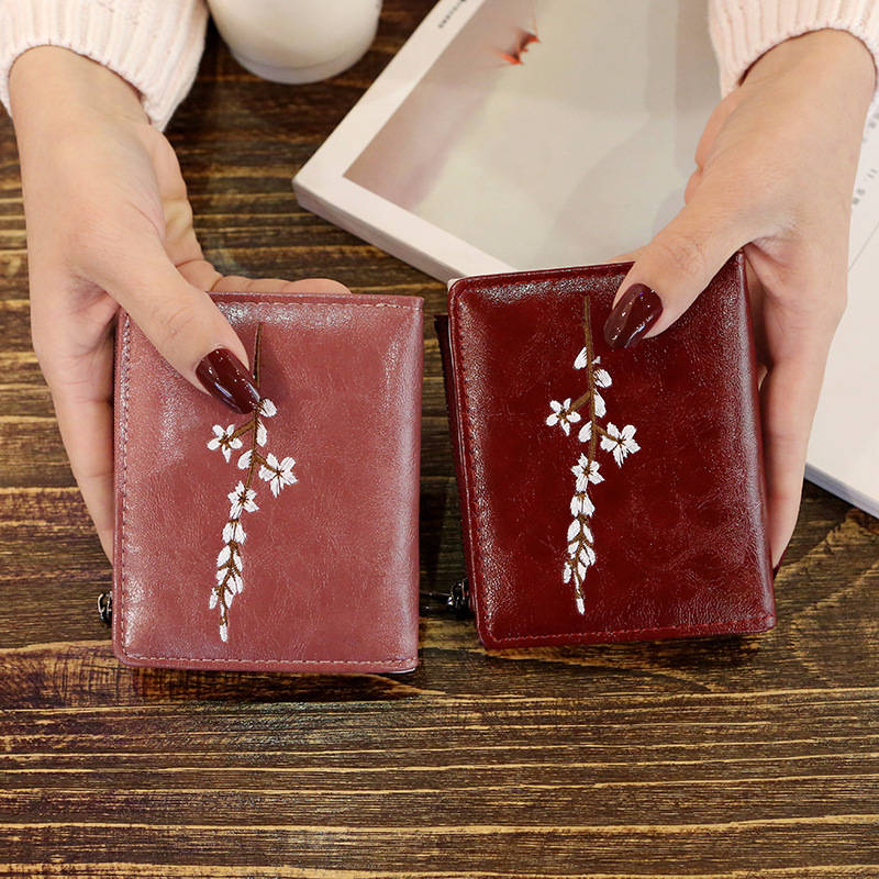 Short Women Flower Wallets Lady Purses ID Cards Holder Zipper Coin Purse Woman Mini Wallet Girls Money Bags Pouch Girls Notecase women wallets short purses for girls coin purse card holder money bags candy colors high quality fashion brand small mini red