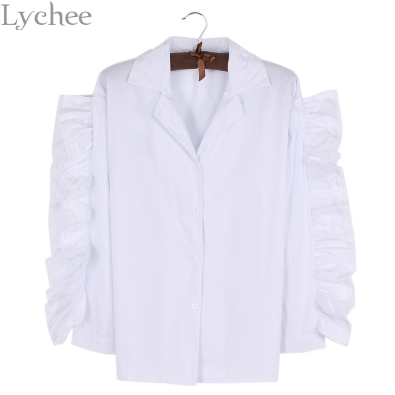 Lychee Sexy Spring Summer Women Blouse Pearl Button Ruffle Sleeve Casual Loose Shirt Tops