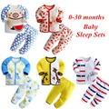2017 de primavera y otoño 0-30 meses bebé recién nacido dormir conjuntos de dibujos animados bebé cama 100% algodón bebé de la muchacha ropa
