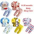 2017 primavera e no outono 0-30 meses conjuntos de cama dos desenhos animados do bebê do sono do bebê recém-nascido 100% do bebê do algodão da menina do menino roupas