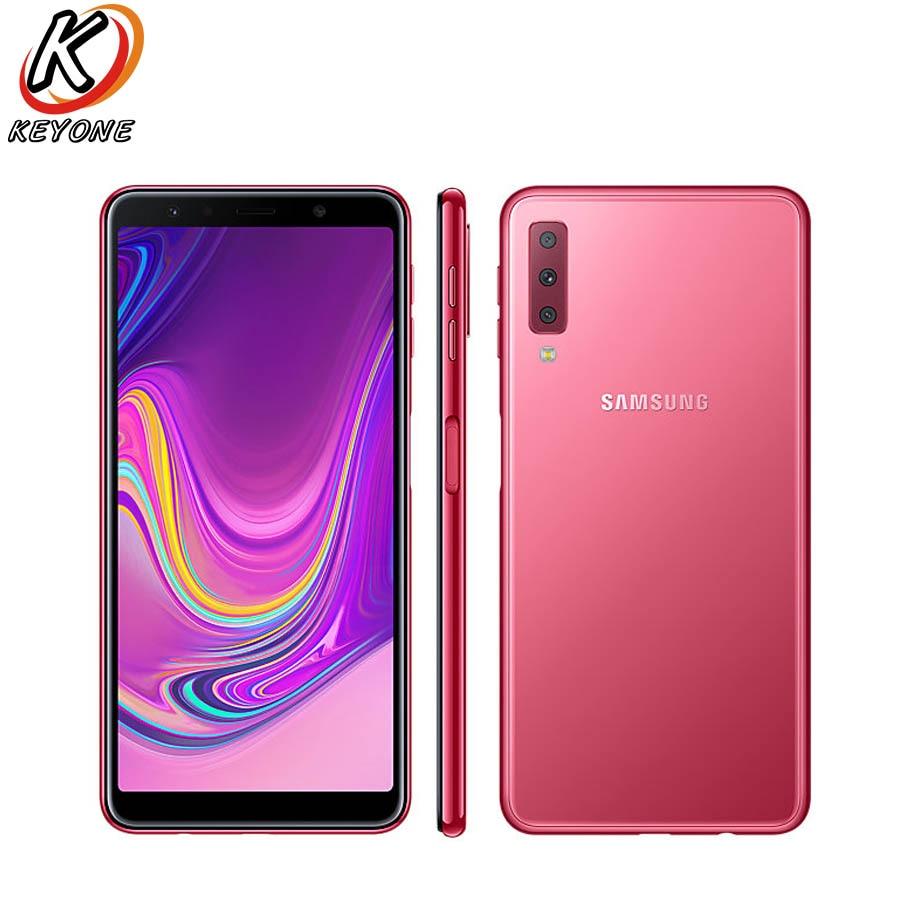 Nouveau Samsung Galaxy A7 A750GN-DS 4g LTE Mobile Téléphone 6.0 4 gb RAM 128 gb ROM Octa Core trois Arrière Caméra 3300 mah NFC Téléphone Intelligent