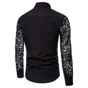 Image 2 - Mens Flower Patchwork Embroidery Lace Shirt 2019 Fashion Transparent Sexy Dress Shirts Mens See Trough Club Party Event Chemise