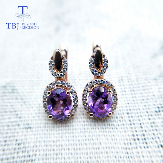 Amethyst Gold Plated 925 Sterling Silver Earrings 2