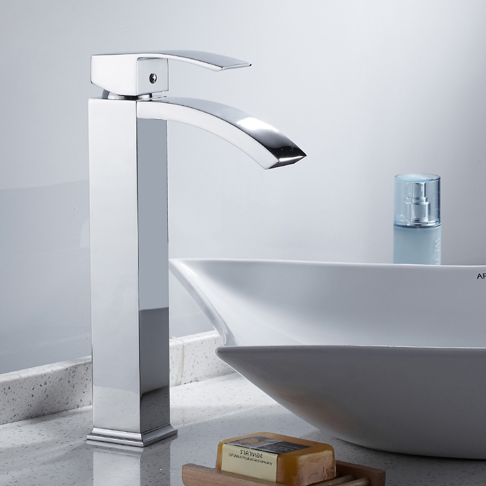 Modern High Bathroom Sink Faucet Brass Single Handle Single Hole Hot and Cold Mixer Sink Tap