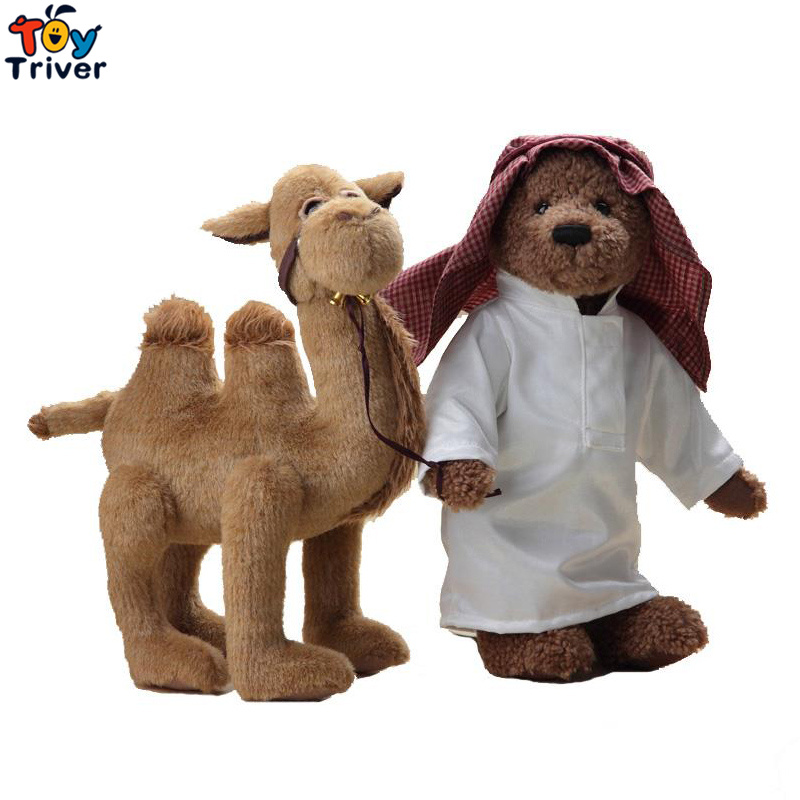 TOP Quality Kawaii Plush Arabs Teddy bear Camel Soft Toy Stuffed Handmade Animal Desert Bear Doll Birthday Gift Home Shop Decor