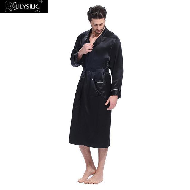 Lilysilk Robe Masculino Roupão De Seda Natural Chinês para Homens Sleepwear Kimono Banho Longo Designer de Manga Comprida Cinto Camada Bolsos Marca