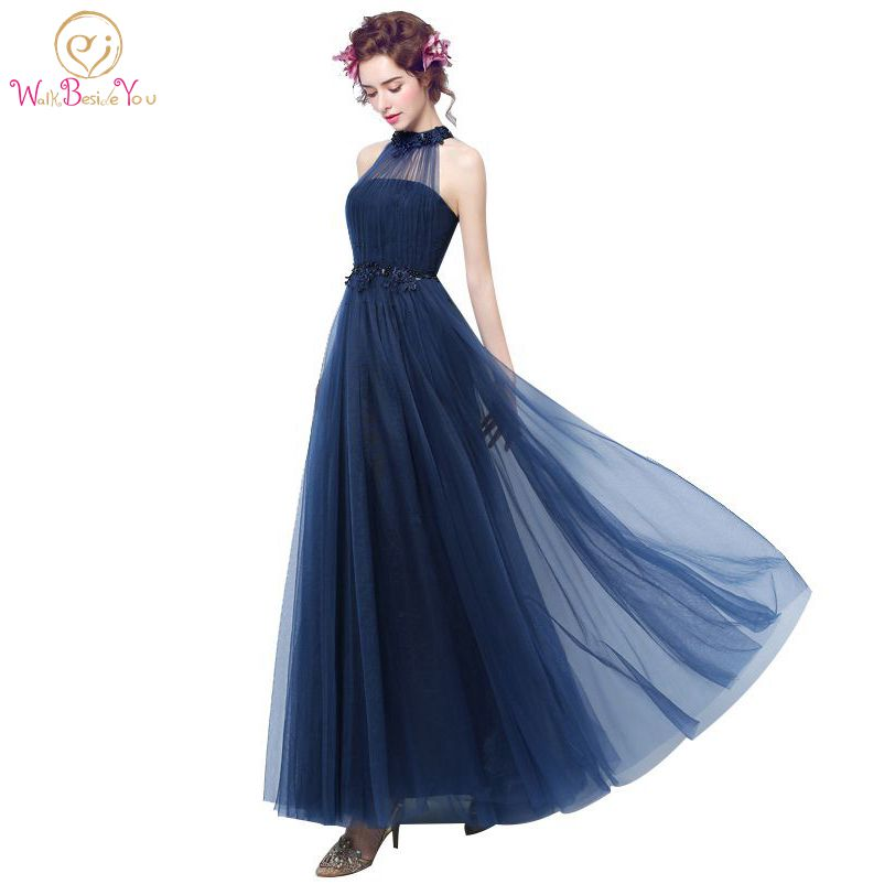 100 Real Image Navy Blue Evening Dresses Tulle Ankle Length Long Formal Gowns Beaded Party Lace