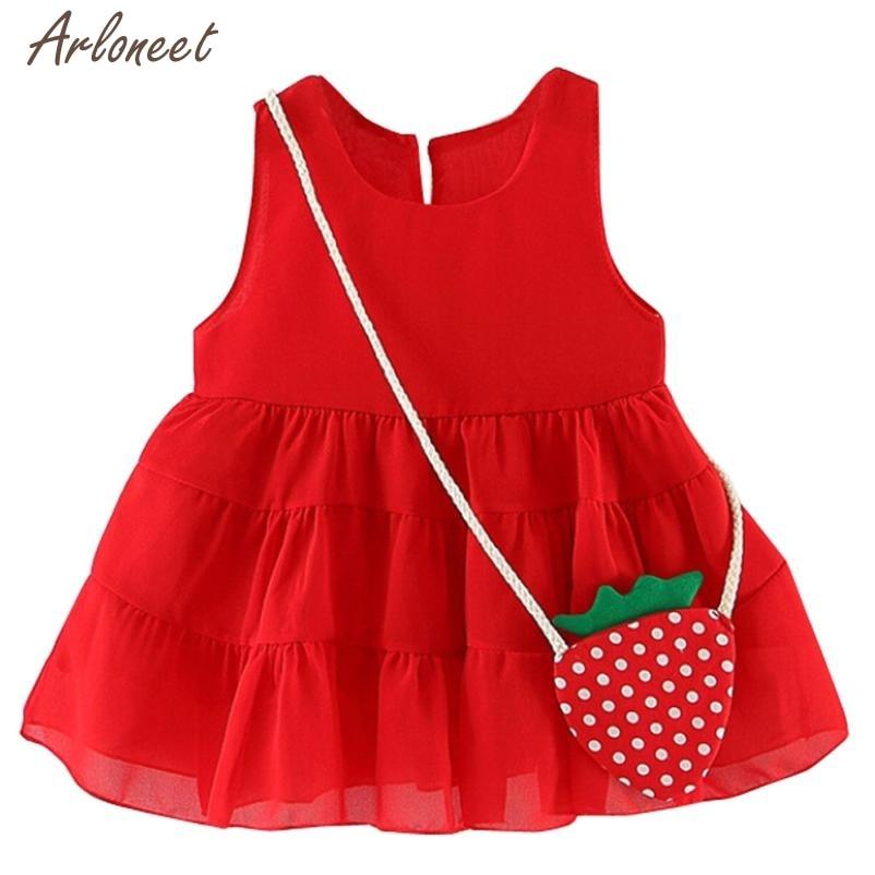 2018 dress baby girl party Summer Sleeveless Strawberry Princess Party Wedding Dress MAR19