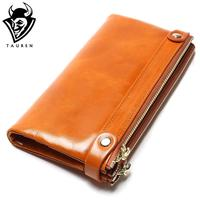 Women Wallets Genuine Leather Medium Long Organizer Wallet Oil Wax Cowhide Hasp Vintage Lady Clutch Carteira