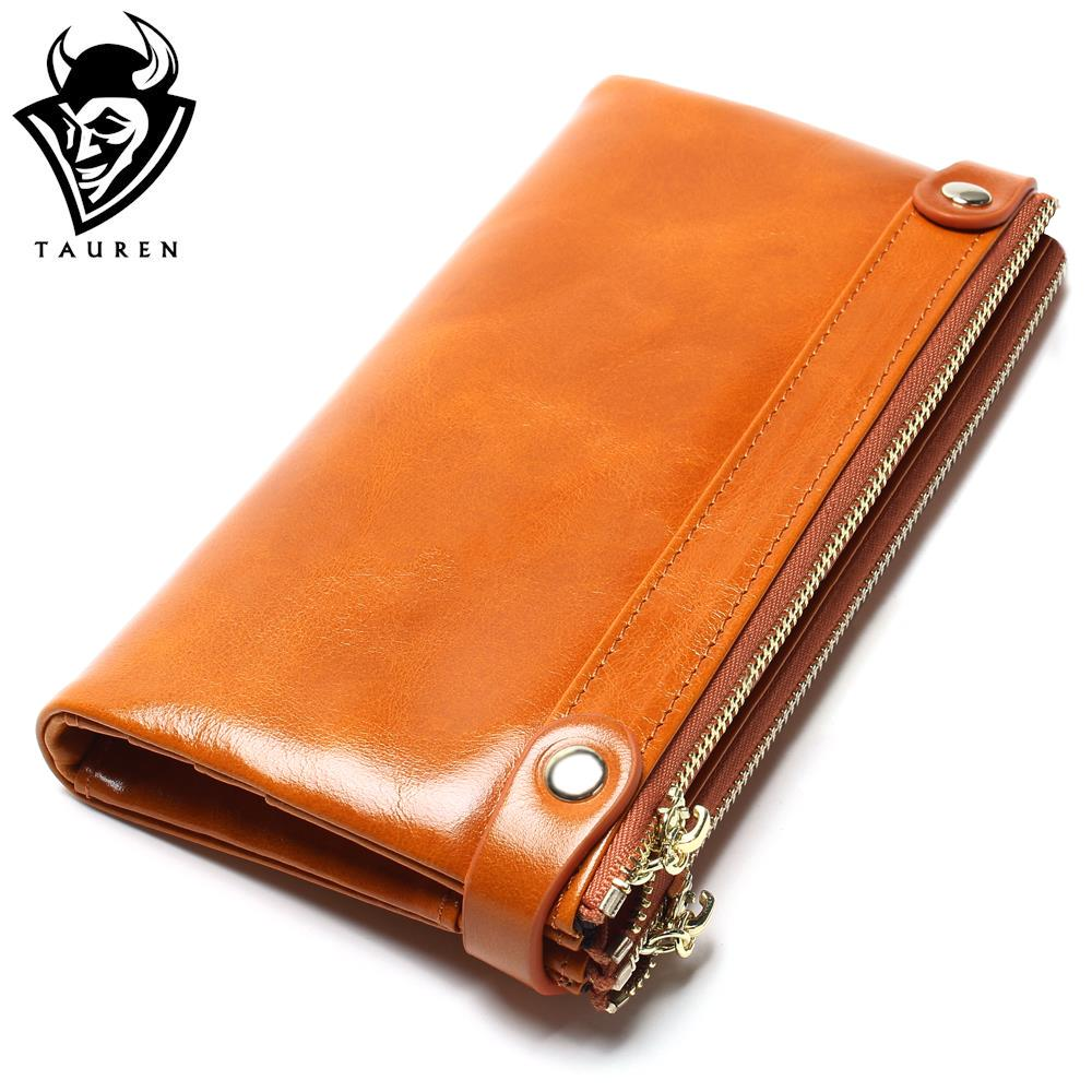 Women Wallets Genuine Leather  Medium-Long Organizer Wallet Oil Wax Cowhide Hasp Vintage Lady Clutch Carteira Feminina Purse new fashion vintage genuine leather wallets long women clutch embossing wallet ladies purse money clips carteira feminina