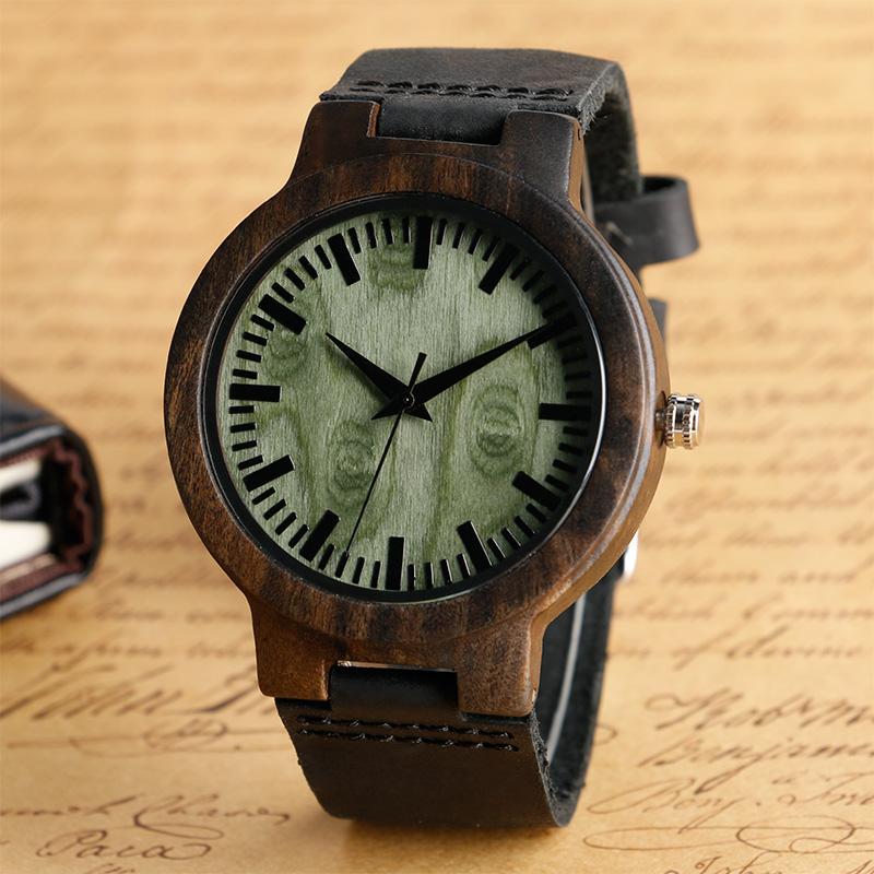 Prix pour Relogio Masculino En Bois Montres Hommes Véritable En Cuir de Courroie De Bande Casual Motif de Bambou Nature Bois Roman Montre-Bracelet Homme Horloge