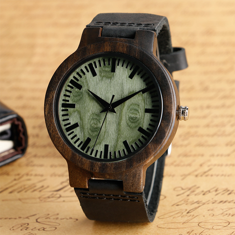 Relogio Masculino Wooden Watches Men Genuine Leather Band Strap Casual Bamboo Pattern Nature Wood Novel Wristwatch Male Clock green dial creative wooden watch 2017 relojes hombre leather band bamboo minimalist mens nature wood relogio masculino