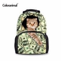 Coloranimal Creative Dollar Cat Backpack Women Backpacks For Teenage Girls School Bags Puzzle Printing Rucksack Mochilas