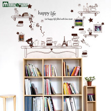Cafe Bookcases Vase Stickers Bedside Bedrooms Dorms Warm Room Stickers Living Room Background Wall Decorative Wall Stickers