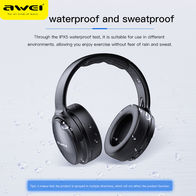 AWEI Budget Bluetooth V5.0 Gaming Headphone Stereo Headset AAC Noise Cancelling With Mic Support TFcard 6