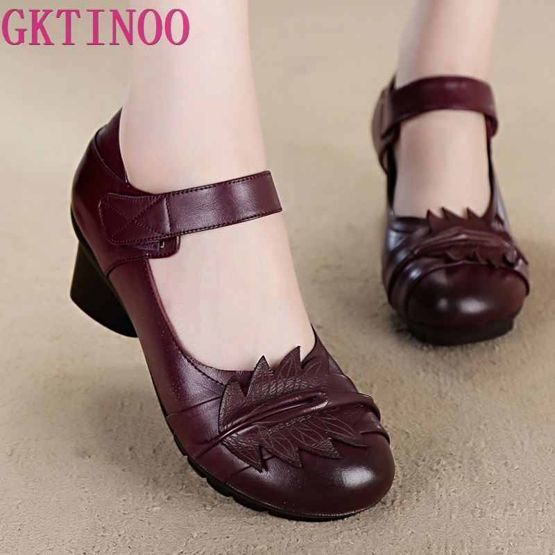 2020 Spring And Summer Ethnic Style Handmade Shoes Women Mid Heels Pumps Round Toe High Heels Genuine Leather