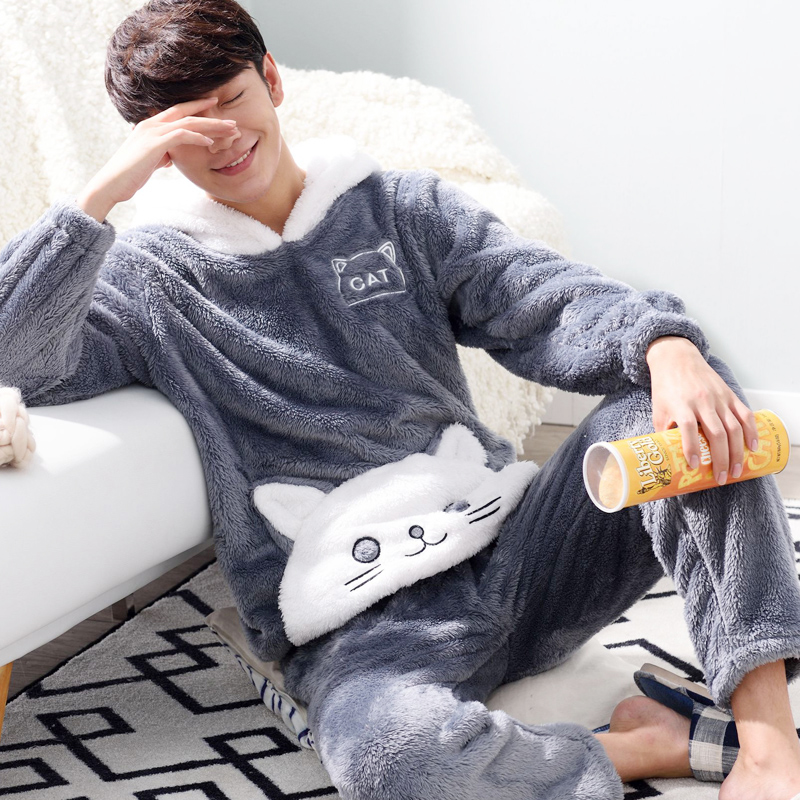 New Men's Pajamas Set Warm Flannel Pijama Men Cartoon Printing Men's Sleep Lounge Pyjama Sets Homewear Nightgowns