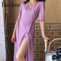 Bazaleas винтажное шикарное праздничное фиолетовое летнее платье с v-образным вырезом, в горошек, с принтом, с разрезом, vestidos, платье миди, Прямая...