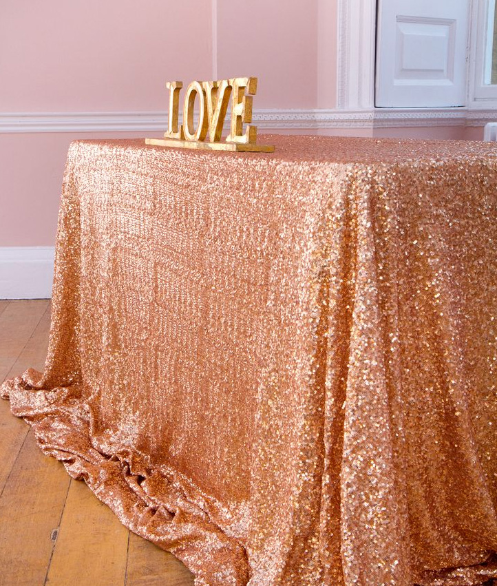 Buy 6ft rectangle rose gold sequin for Christmas table cover ideas