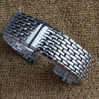 Hot Utrl thin Watchband solid links Stainless steel Watchband metal watch strap Silver 18mm 20mm 22mm bracelet butterfly buckle
