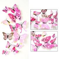 12 Pcs 3D Wall Stickers Butterfly Fridge Magnet Wedding Party DIY Room Decor