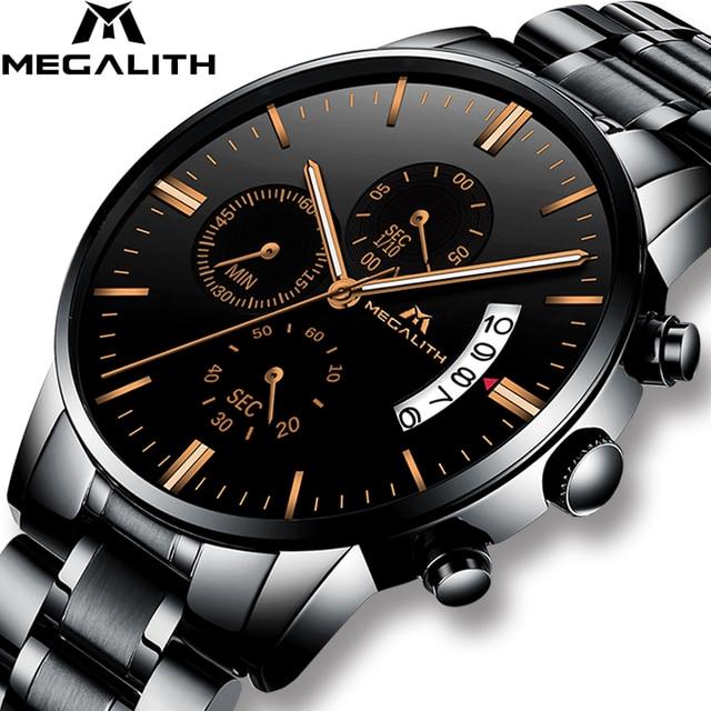 Megalito relojes para hombre marca de lujo impermeable Chronogra muñeca  reloj de fecha calendario reloj hombres 6fa685e9b096