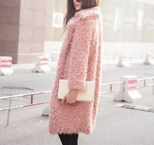 2018 Fashion Warm winter faux fur coat women Fashion streetwear elegant long coat female 2018 Pink casual autumn coat outerwear