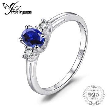 3d5b7a243bb5 JewelryPalace tres piedra genuino zafiro ovalado redondo blanco Topacio  aniversario anillo de compromiso de plata esterlina