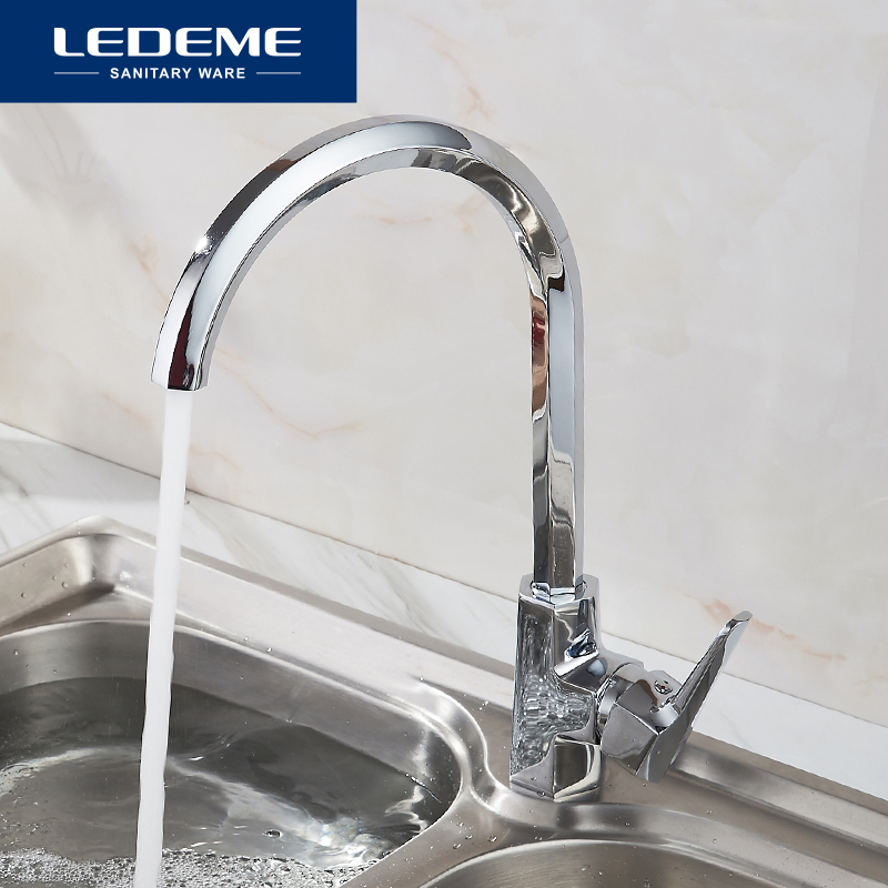 LEDEME Kitchen Faucet Pull Out Spray Rotary Brushed 6 Side Sink Mixer Tap Single Handle Deck Mounted Hot And Cold Water L4059-2