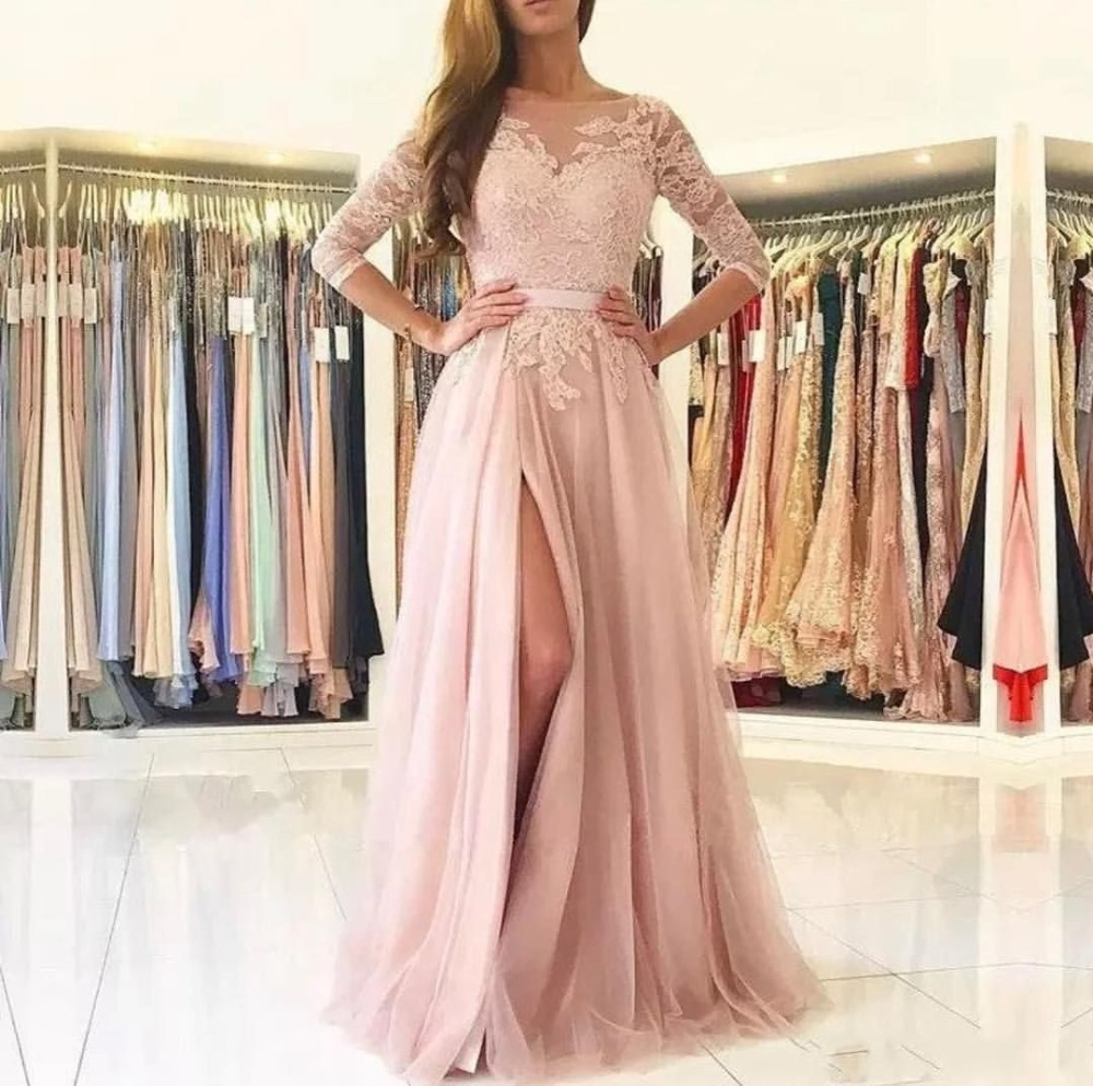 Pink Evening Dress Saudi Arabia A-Line Half Sleeve High Split Long Formal Prom Gowns Sexy Backless Lace Tull Special Occasion