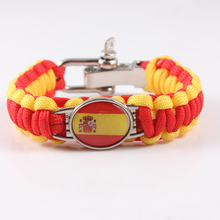 Custom Paracord Bracelet Spain Flag Charm Bracelet Survival Bracelet for 2018 World Cup Canada Team Fans Jewelry(China)