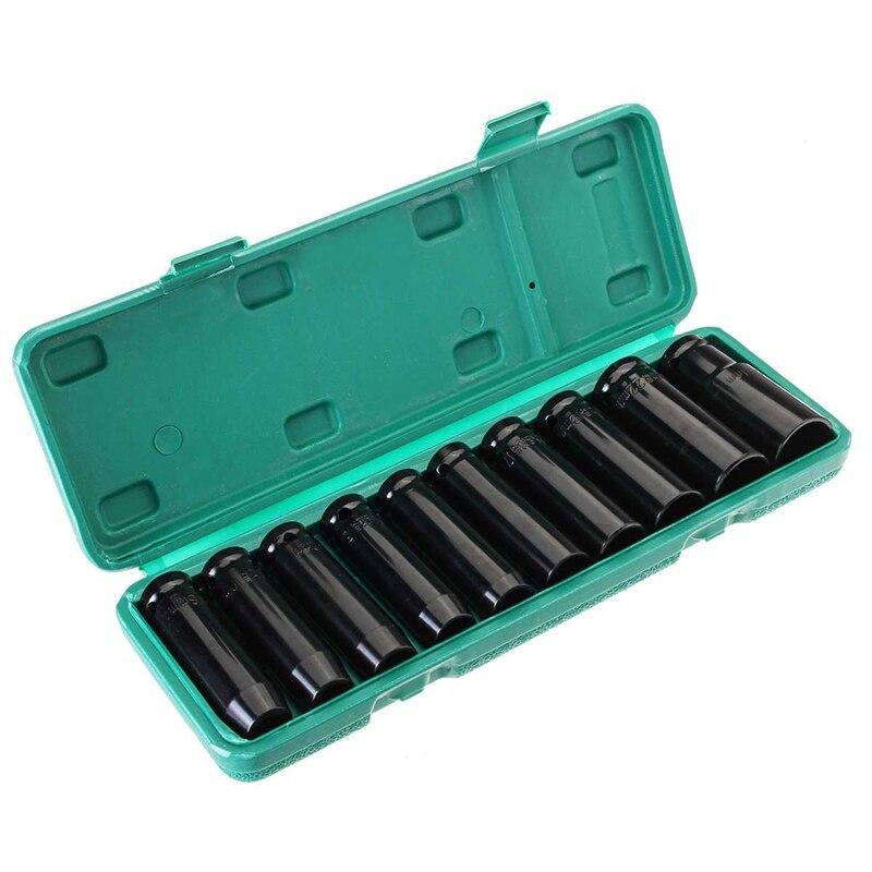 10Pcs 8-24Mm 1/2 Inch Drive Diepe Impact Socket Set Zware Metric Garage Tool Voor Wrench Adapter hand Tool Set