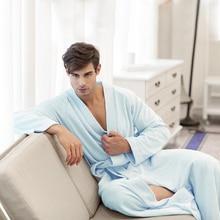 Для мужчин и Осенне-зимняя Дамская обувь натуральный хлопок Терри Полотенца плюс Размеры ультра длинные Халаты халаты пижамы Lounge одежда Ночные сорочки