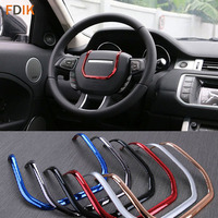 Black/ Red / Chrome ABS Interior Steering Wheel Molding Trim Cover Garnish for Land Rover Evoque 2012 2013 2014 2015