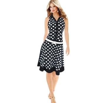Fashion Polka Dot Women Dress Sleeveless V-neck Dress For Lady  Dress With Belt White Black Color Vintage Vestidos Mujer #IS polka dot